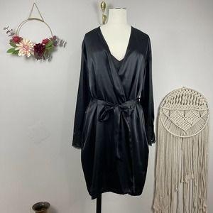 Jones Newyork Black Lace Sleepwear Robe Set XL